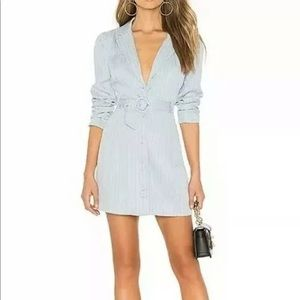 Light blue striped blazer dress & belt sz S